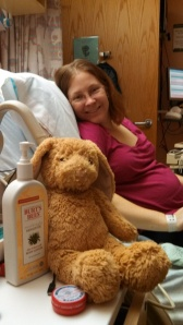 Second (and last, really) day of hospital bed rest. I like this one because I actually have a belly. Also, that is the teddy bear I was concerned about when they rushed me into surgery.